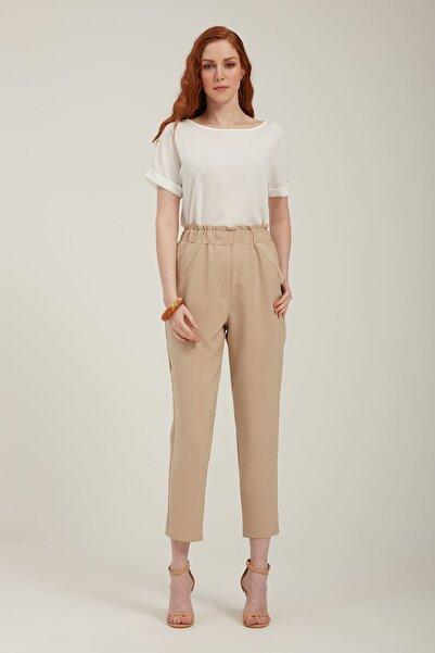 Batik A2095 Beli Lastikli Havuç Formlu Pantolon Bej