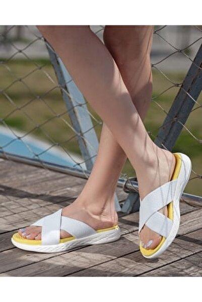 Casual Beyaz Sarı Çapraz Bant Kaymaz Taban Kadın Terlik