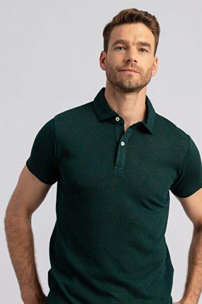 Tudors Slim Fit Dar Kesim Merserize Keten Pamuk Polo Yaka Erkek Tshirt