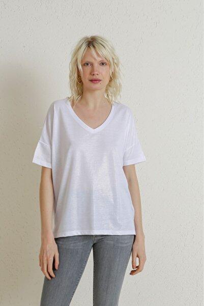 Batik A2152 V Yaka Sim Varaklı T-shırt Beyaz