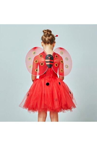 Salkım Party Kırmızı Renk Uğur Böceği Kanadı Eteği Tacı Ve Sopası 4 Lü Kostüm Seti