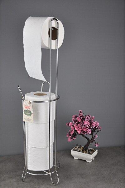 Marketonya Paslanmaz Krom Wc Kağıtlık Tuvalet Kağıtlığı Yedek Hazneli