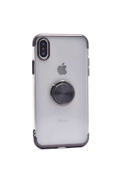Apple Iphone Xs Max Uyumlu Kılıf Yüzüklü Standlı Dört Köşe Lazer Renkli Yumuşak Silikon