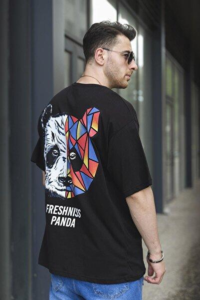 Oksit Aspen Freshniss Panda Baskılı Oversize Bisiklet Yaka Unisex Tshirt