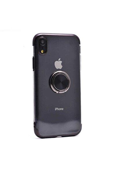 Apple Iphone Xr Uyumlu Kılıf Yüzüklü Standlı Dört Köşe Lazer Renkli Yumuşak Silikon