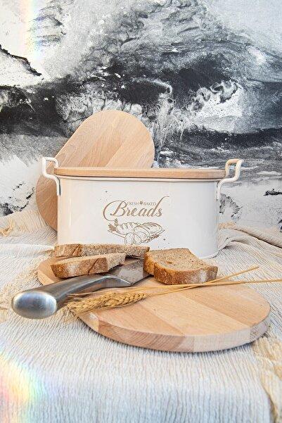 Bestofhome Beyaz Ferforje Ahşap Kapaklı Kesme Tahtalı Ekmeklik