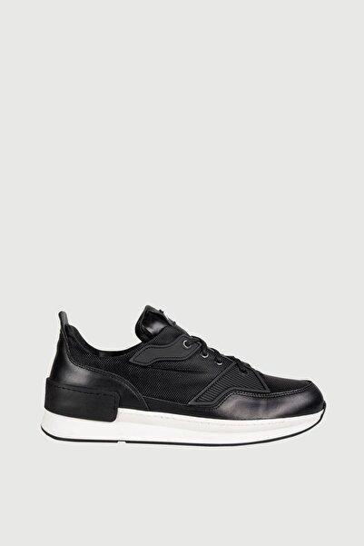 Male Industry Siyah File Dokulu Deri Erkek Sneaker