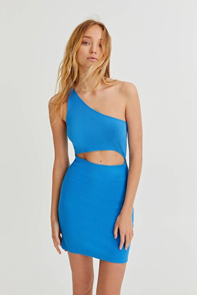 Pull & Bear Pencere Detaylı Mavi Mini Elbise