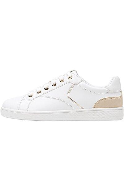Stradivarius Kadın Beyaz Topuğu Parça Detaylı Beyaz Spor Ayakkabı