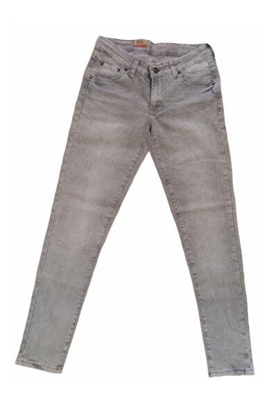 More Kadın Düşük Bel Gri Yıkanmış Taşlanmış Dar Paçalı Likralı Kot Pantolon Kkp-lv-711-10
