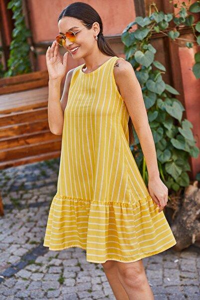 armonika Kadın Sarı Kolsuz Eteği Fırfırlı Çizgili Elbise ARM-19Y001101