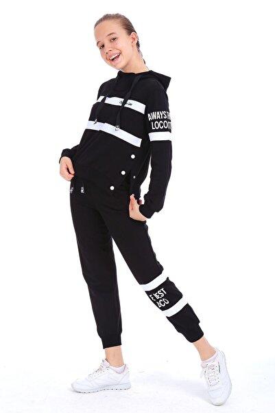 Enisena Kız Çocuk Siyah Kapşonlu Sweatshirt Takım 1703