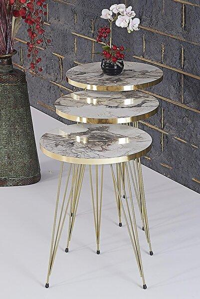 RuponHome Rupon Home 3 Lü Zigon Sehpa- Yuvarlak Efes Mermer Desenli Gold Metal Ayak
