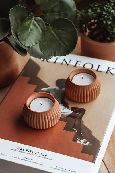 BEIGE Sun 2'li Terracotta Tealight Mumluk