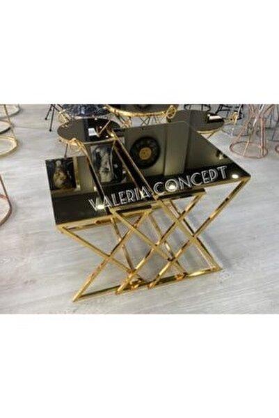 Gold Bronz Renk Ayna X Model Zigon Sehpa