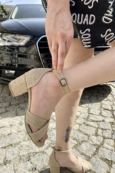 amarederi Kadın Hakiki Deri Hasır Bilekten Bağlamalı Sandalet