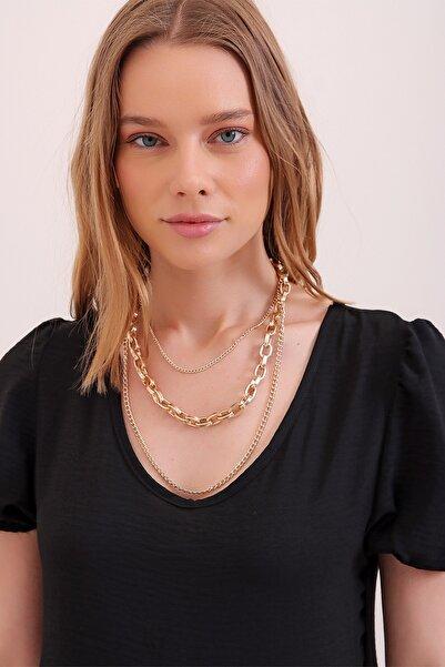 Trend Alaçatı Stili Kadın Gold 3 Sıralı Zincir Kolye ALC-A2285