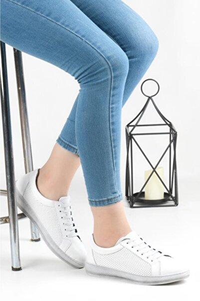 Pandora Kadın Beyaz Ortopedik Günlük Deri Ayakkabı Hs601