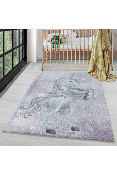 AYYILDIZ Çocuk Bebek Odası Halısı Unicorn Yıldız Motifli Lila Pembe