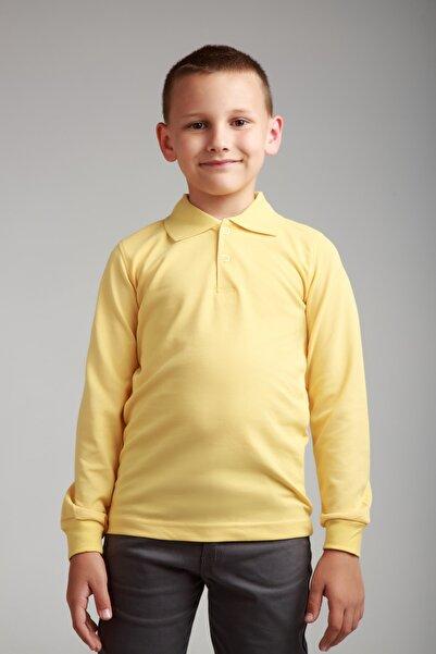 Dragora Uzun Kollu Polo Yaka Sarı Penye