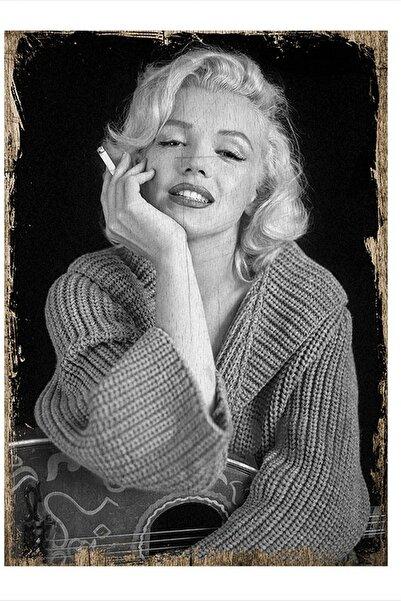 Tablomega Marilyn Monroe Siyah Beyaz Tasarım Ahşap Tablo 35cm X 50 cm