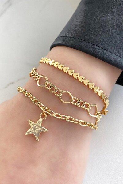 TAKIŞTIR Altın Renk Yıldız Figürlü Üçlü Zincir Bileklik