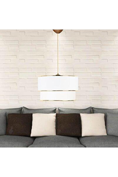 HOMİNG Beyaz Pasta Gold Detaylı Kumaş Sarkıt / Yatak Odası, Salon