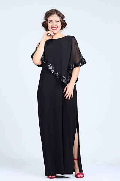 ANGELINO Kadın Siyah Uzun Abiye Elbise KL8022U