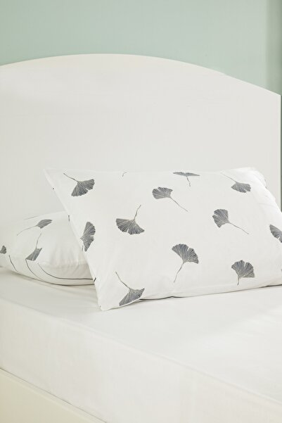 English Home Gingko Leaf Pamuklu 2'li Yastık Kılıfı 50x70 Cm Lacivert-Beyaz