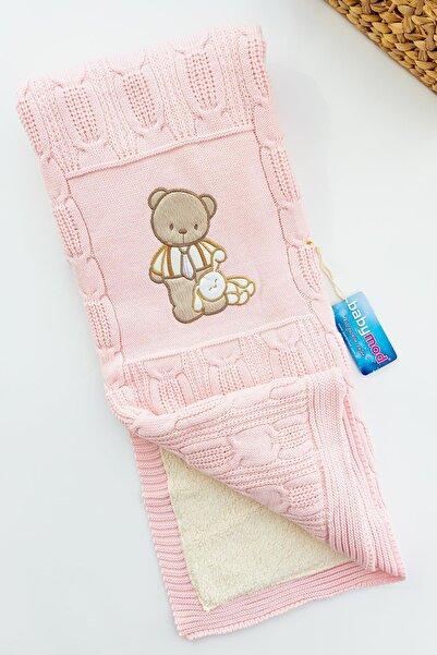 Babymod Ayıcık Işlemeli Tiriko Pembe Kız Bebek Battaniyesi