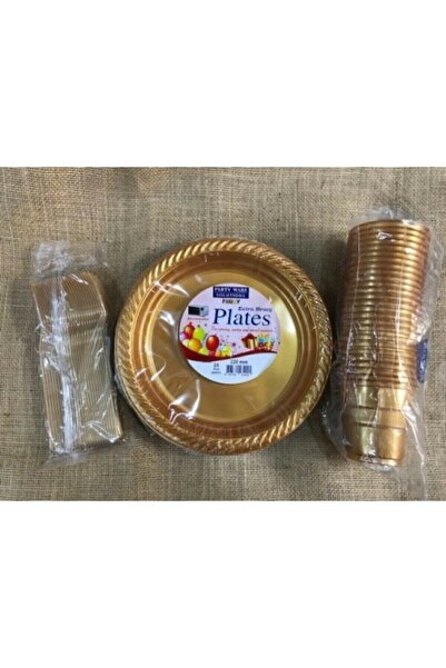 Renkli Parti Gold Altın Tabak Bardak Çatal Set Plastik 25 Kişilik