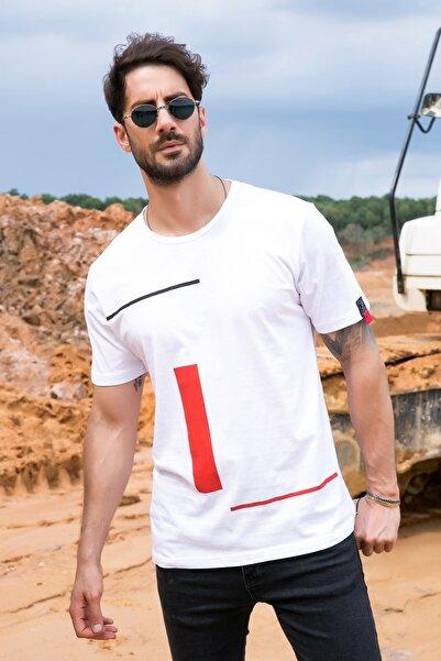 Sateen Men Erkek Beyaz Çizgi Baskı Armalı T-Shirt