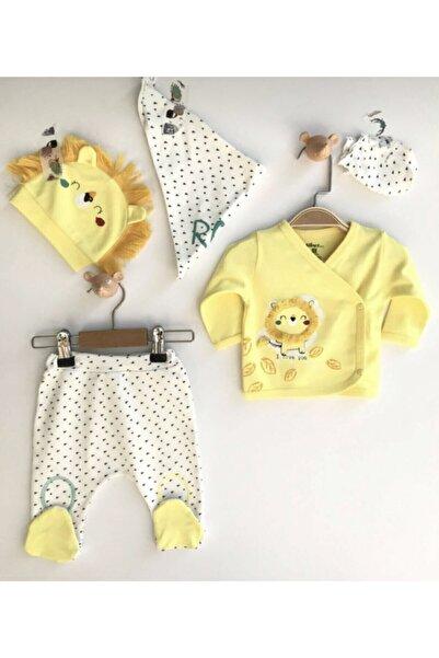 VERONA TARZ Erkek Bebek Aslanlı 5li Hastane Çıkış Seti Yenidoğan Kıyafeti