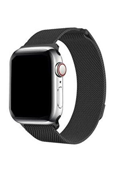 Apple Watch 2 3 4 5 42 Mm 44 Mm Hasır Örgü Metal Milano Kordon Kayış Siyah