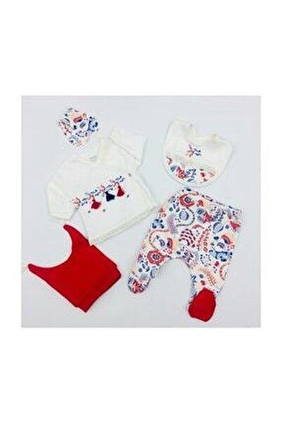 Kız Bebek Kırmızı Lalezar 5 Parça Zıbın Takım