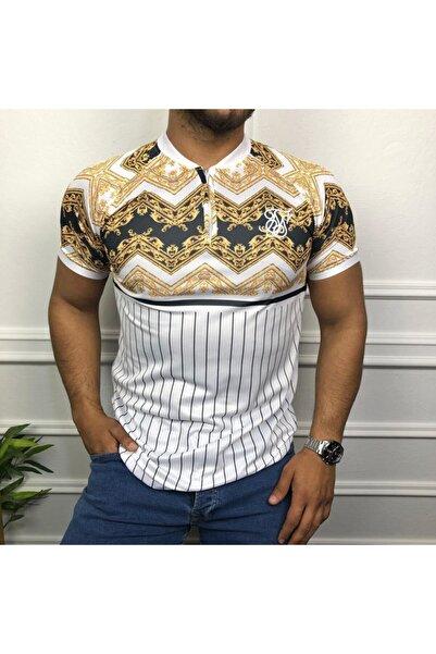 uyguntarz Beyaz Baskılı Polo Yaka T-shirt Pol010
