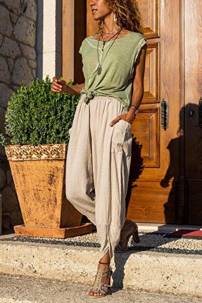 Güneşkızı Kadın Bej Yıkamalı Keten Cepli Beli Lastikli Şalvar Pantolon GK-CCK58048ND