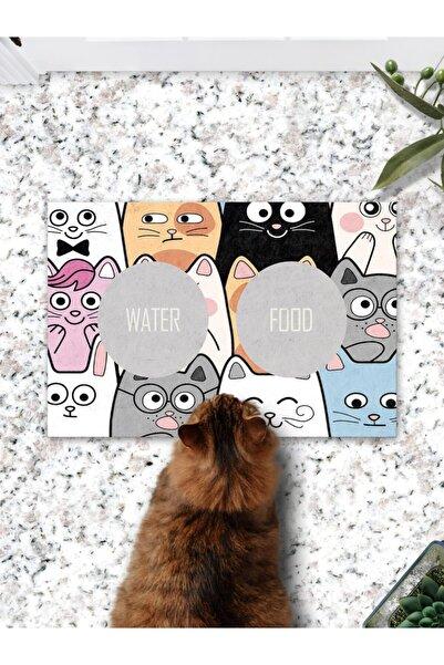 Patipeti Cartoon Cats Kedi Köpek Mama Eğitim Paspası Ve Beslenme Altlığı