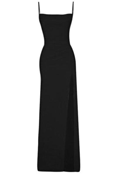 Siyah Derin Yırtmaçlı Drapeli Uzun Abiye Elbise