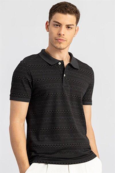 Tudors Slim Fit Dar Kesim Polo Yaka Desenli Pike Erkek T-shirt