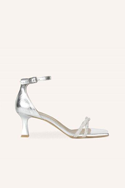 MARCATELLI Gümüş Örgü Mini Topuklu Ayakkabı
