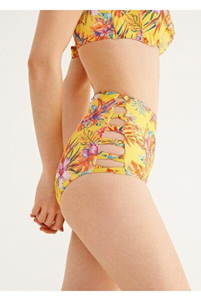 SUWEN Yüksek Bel Yanı Biyeli Desenli Bikini Alt