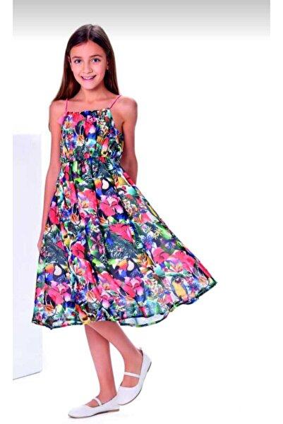 Wonder Kıds Kız Çocuk Ip Askılı Çiçek Desenli Elbise