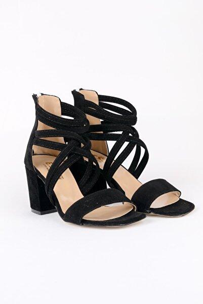 ODESA Kadın Siyah Süet  Topuklu Ayakkabı