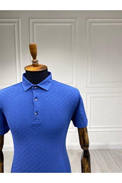 Sarar Polo Yaka Desenli Saks Mavi T-shirt