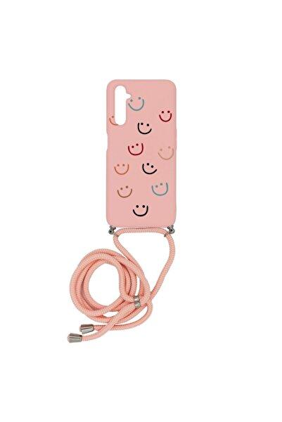 Merwish Oppo Realme 6pro Happy Smile Içi Kadife Boyun Askılı Uyumlu Kılıf Pembe