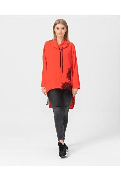 SCL Kadın Neon Mercan Tül Detaylı Tunik