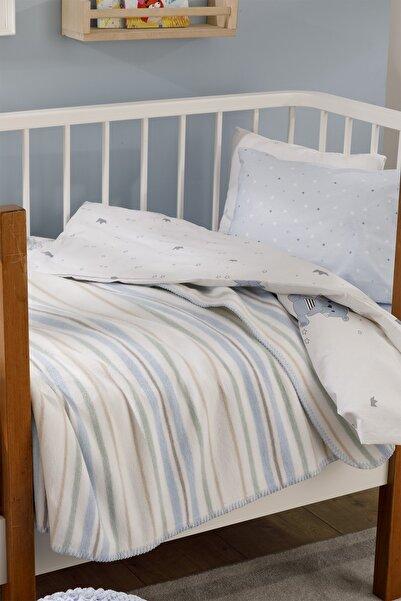 English Home Softy Stripe Pamuklu Pamuklu Bebe Battaniye 100x120 Cm Mavi