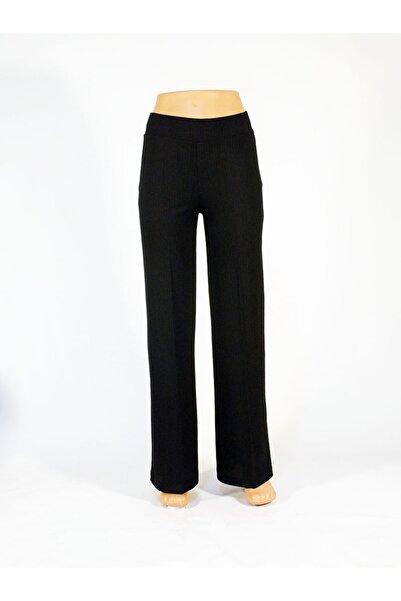 Otto Siyah Viscon Polyesterraporlu Yüksekbel Geniş Paça Pantolon