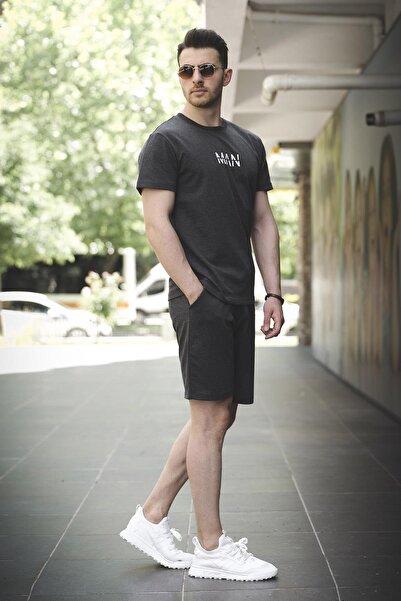 Oksit Brice Man Düz Nakış Işlemeli Slim Fit Şort Tshirt Takım